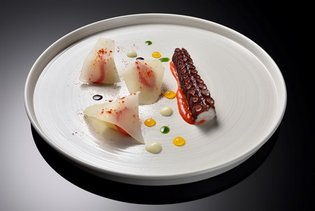 8. Octopus, capsicum cream, potato, olive